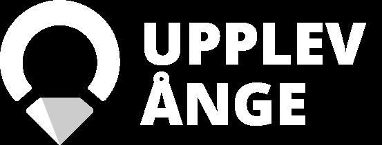 Upplev Ånge stor transparant logotyp i vit och grå.