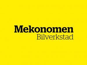 Mekonomen Bilverkstad logotyp med gul bakgrund.