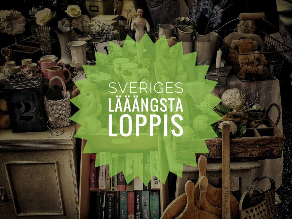 Stånd från Sveriges Lääängsta Loppis mellan Borgsjö och Stöde.