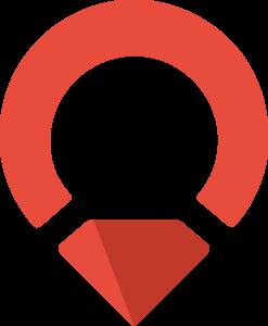 Upplev Ånge liten logotyp i röd och mörkröd.
