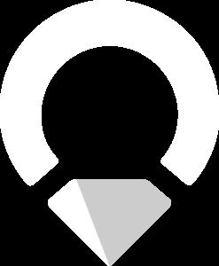 Upplev Ånge liten logotyp i vit och grå.