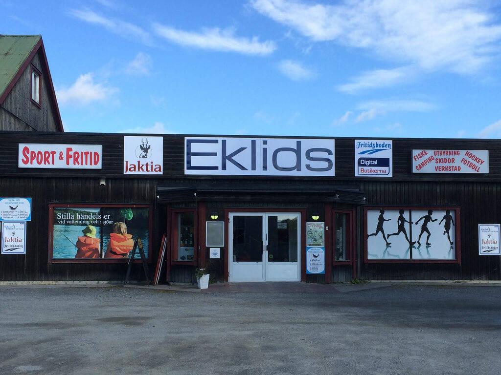 Ingång till Eklids, Jakta, Sportringen och Digitalbutikerna i Ånge.