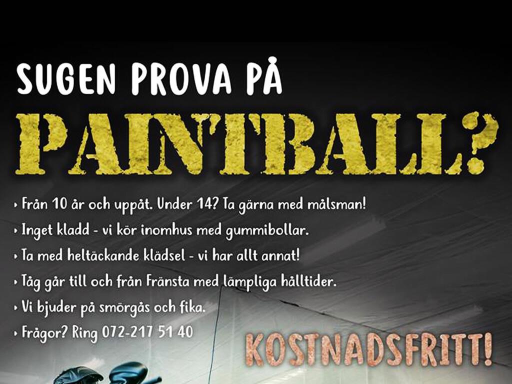 Prova paintball lördag den 7 oktober klockan 12:00 i Minervahallen.